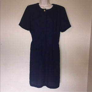 NEW NWT Vintage 80s 90s Navy Blue Pencil Dress 10